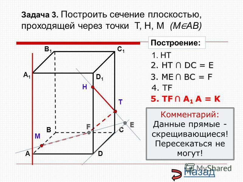 АD В1В1 ВС А1А1 C1C1 D1D1 Н Т М Построение: 1. НТ 2. НТ DС = E E 3. ME ВС = F F F 4. ТF F А 1 А = K 5. ТF А 1 А = K Комментарий: Данные прямые - скрещивающиеся! Пересекаться не могут! Назад Задача 3. Построить сечение плоскостью, проходящей через точ