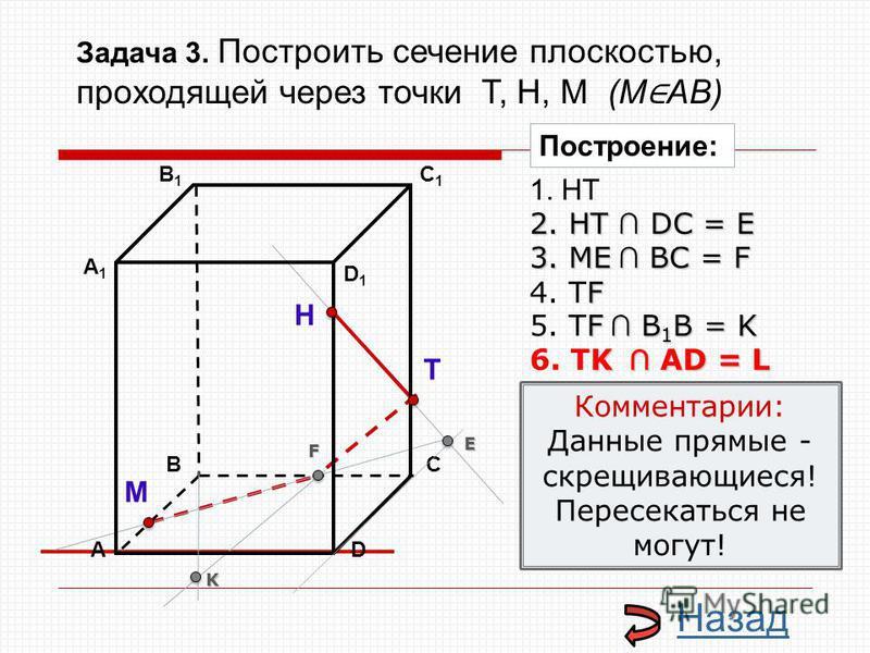 АD В1В1 ВС А1А1 C1C1 D1D1 Н Т М Построение: 1. НТ 2. НТ DС = E E 3. ME ВС = F F F 4. ТF F В 1 В = K 5. ТF В 1 В = K K K АD = L 6. TK АD = L Комментарии: Данные прямые - скрещивающиеся! Пересекаться не могут! Назад Задача 3. Построить сечение плоскост