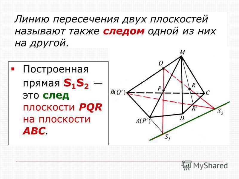 Линию пересечения двух плоскостей называют также следом одной из них на другой. Построенная прямая S 1 S 2 это след плоскости РQR на плоскости АВС.