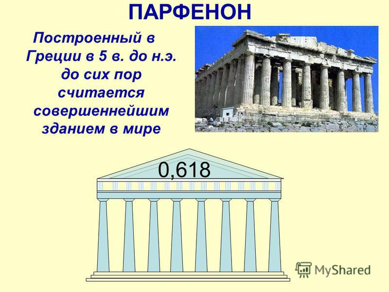 ПАРФЕНОН 0,618 Построенный в Греции в 5 в. до н.э. до сих пор считается совершеннейшим зданием в мире