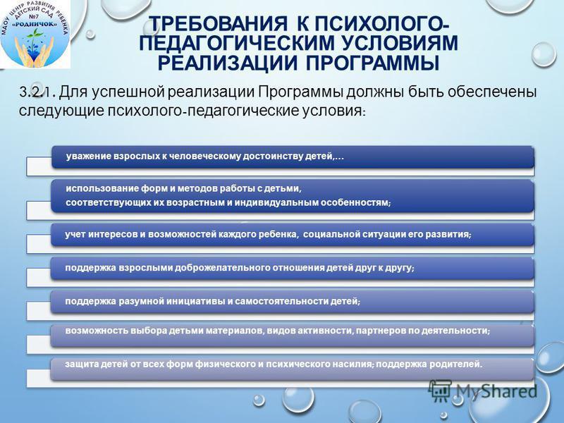 ТРЕБОВАНИЯ К ПСИХОЛОГО - ПЕДАГОГИЧЕСКИМ УСЛОВИЯМ РЕАЛИЗАЦИИ ПРОГРАММЫ Аспекты образовательной среды 3.2.1. Для успешной реализации Программы должны быть обеспечены следующие психолого - педагогические условия : уважение взрослых к человеческому досто