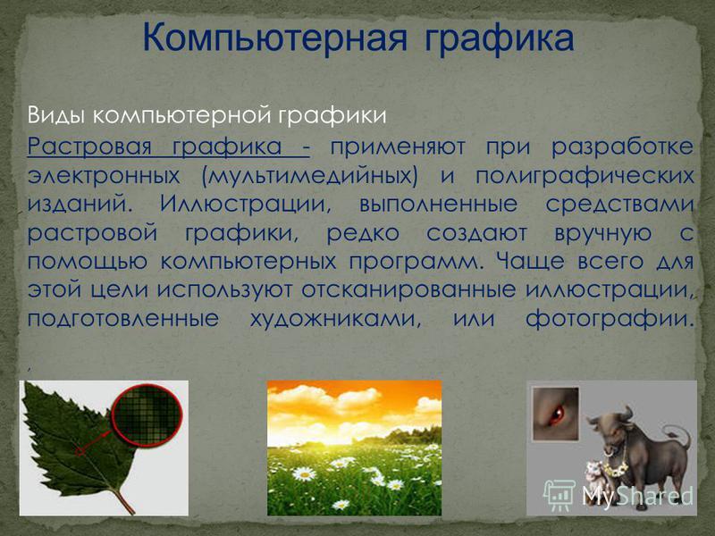 Виды компьютерной графики Растровая графика - применяют при разработке электронных (мультимедийных) и полиграфических изданий. Иллюстрации, выполненные средствами растровой графики, редко создают вручную с помощью компьютерных программ. Чаще всего дл