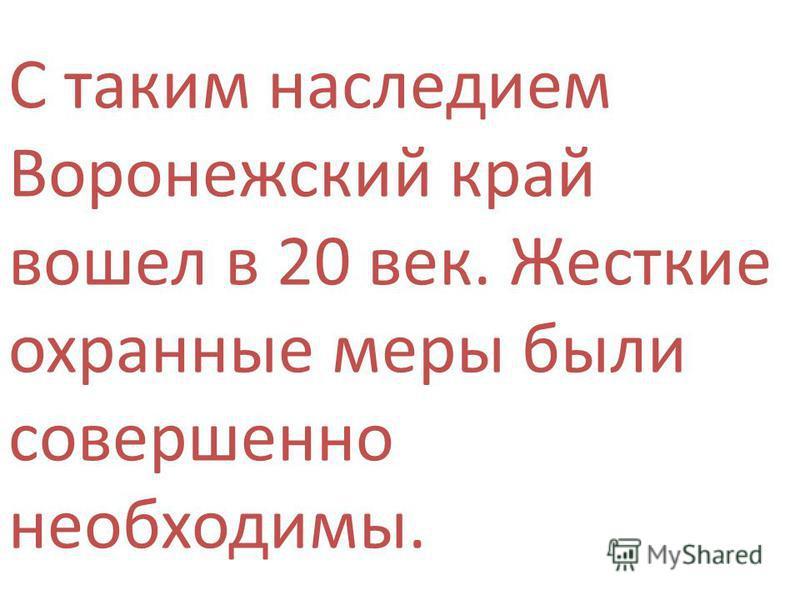С таким наследием Воронежский край вошел в 20 век. Жесткие охранные меры были совершенно необходимы.