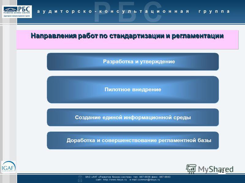 12 Разработка и утверждение Пилотное внедрение Доработка и совершенствование регламентной базы Создание единой информационной среды Направления работ по стандартизации и регламентации Направления работ по стандартизации и регламентации
