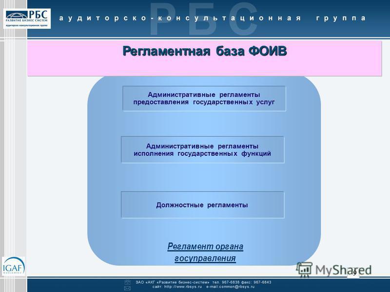 9 Административные регламенты предоставления государственных услуг Административные регламенты исполнения государственных функций Должностные регламенты Регламентная база ФОИВ Регламентная база ФОИВ Регламент органа госуправления
