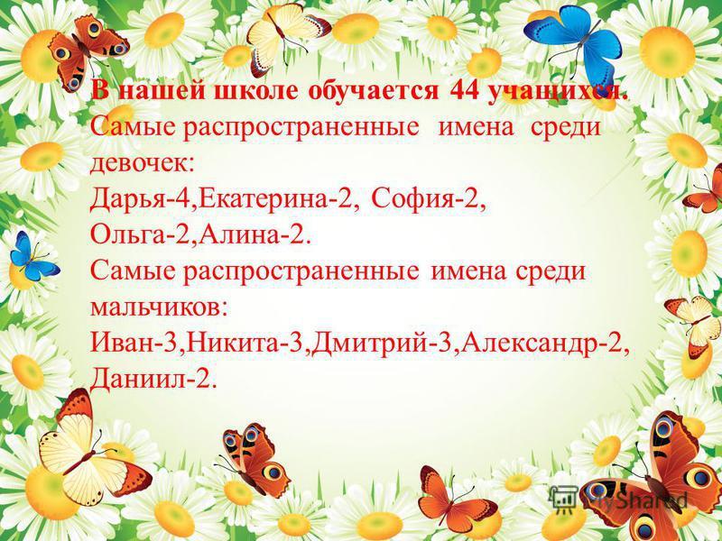 В нашей школе обучается 44 учащихся. Самые распространенные имена среди девочек : Дарья -4, Екатерина -2, София -2, Ольга -2, Алина -2. Самые распространенные имена среди мальчиков : Иван -3, Никита -3, Дмитрий -3, Александр -2, Даниил -2.