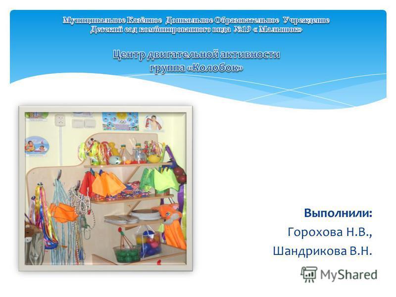 Выполнили: Горохова Н.В., Шандрикова В.Н.