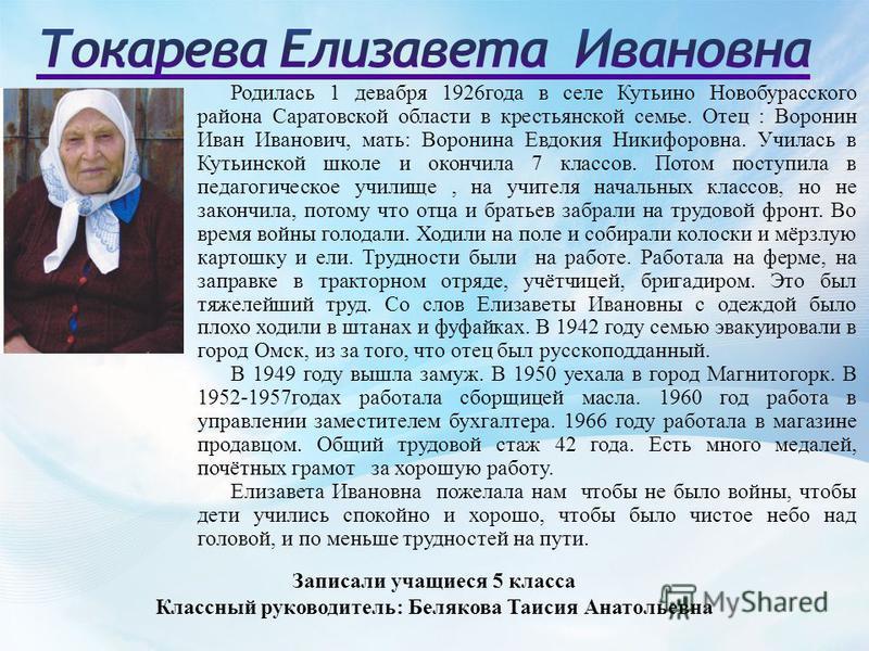 Родилась 1 декабря 1926 года в селе Кутьино Новобурасского района Саратовской области в крестьянской семье. Отец : Воронин Иван Иванович, мать: Воронина Евдокия Никифоровна. Училась в Кутьинской школе и окончила 7 классов. Потом поступила в педагогич