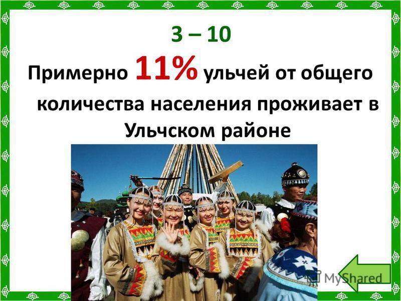 3 – 10 Примерно 11% ульчей от общего количества населения проживает в Ульчском районе
