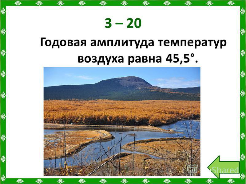3 – 20 Годовая амплитуда температур воздуха равна 45,5°.