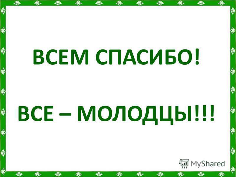 ВСЕМ СПАСИБО! ВСЕ – МОЛОДЦЫ!!!