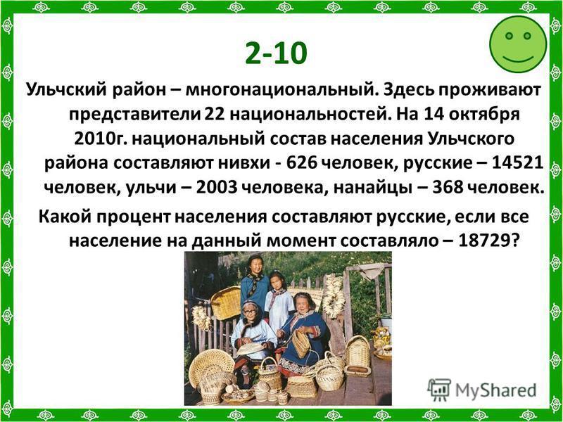 2-10 Ульчский район – многонациональный. Здесь проживают представители 22 национальностей. На 14 октября 2010 г. национальный состав населения Ульчского района составляют нивхи - 626 человек, русские – 14521 человек, уличи – 2003 человека, нанайцы –