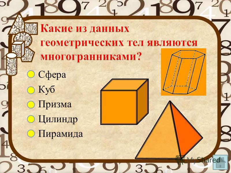 Квадрат Треугольник Параллелепипед Круг Цилиндр