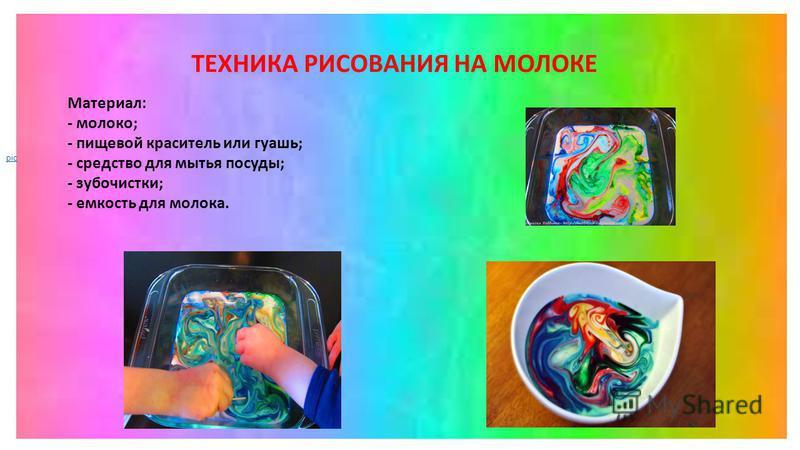 ТЕХНИКА РИСОВАНИЯ НА МОЛОКЕ Материал: - молоко; - пищевой краситель или гуашь; - средство для мытья посуды; - зубочистки; - емкость для молока. pic