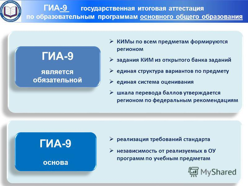Структуры – организаторы ГИА-9 ГИА-9 является обязательной ГИА-9 является обязательной КИМы по всем предметам формируются регионом задания КИМ из открытого банка заданий единая структура вариантов по предмету единая система оценивания шкала перевода
