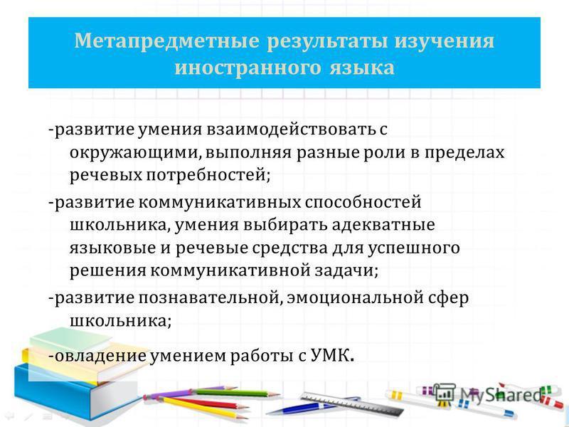 Метапредметные результаты изучения иностранного языка -развитие умения взаимодействовать с окружающими, выполняя разные роли в пределах речевых потребностей; -развитие коммуникативных способностей школьника, умения выбирать адекватные языковые и рече