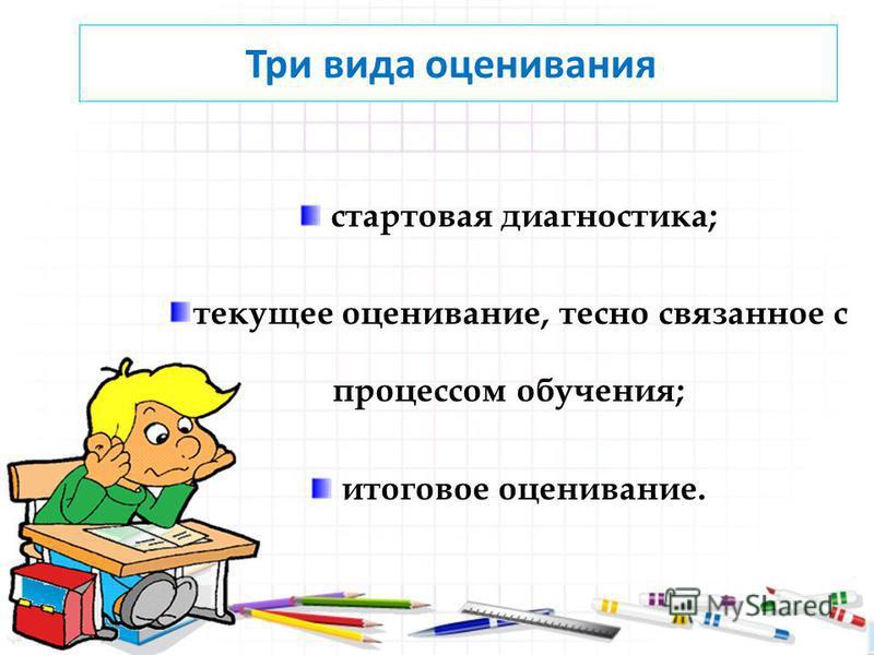 стартовая диагностика; текущее оценивание, тесно связанное с процессом обучения; итоговое оценивание. Три вида оценивания: