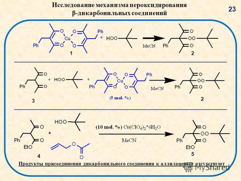 Продукты присоединения дикарбонильного соединения к аллилацетату отсутствуют 23 12 3 4 5 2 Исследование механизма пер оксидирования β-дикарбонильных соединений