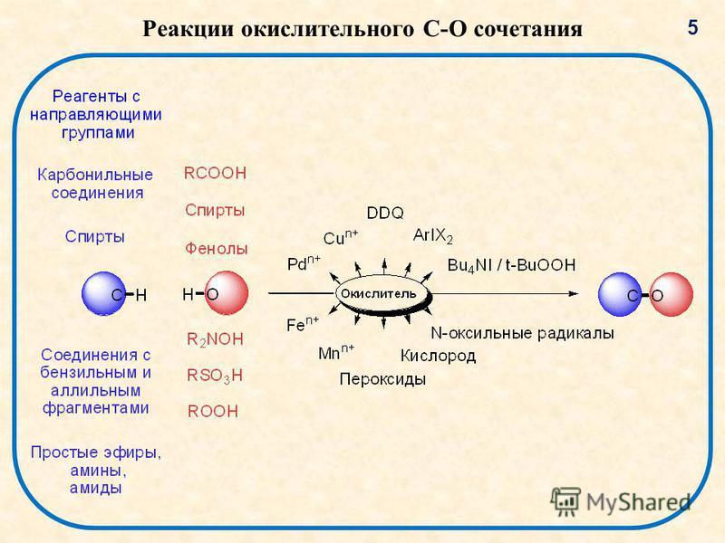 Реакции окислительного C-O сочетания 5
