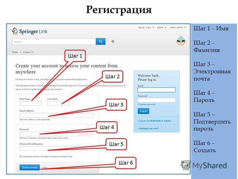 Регистрация Шаг 1 Шаг 2 Шаг 3 Шаг 4 Шаг 5 Шаг 6 Шаг 1 – Имя Шаг 2 – Фамилия Шаг 3 – Электронная почта Шаг 4 – Пароль Шаг 5 – Подтвердить пароль Шаг 6 – Создать