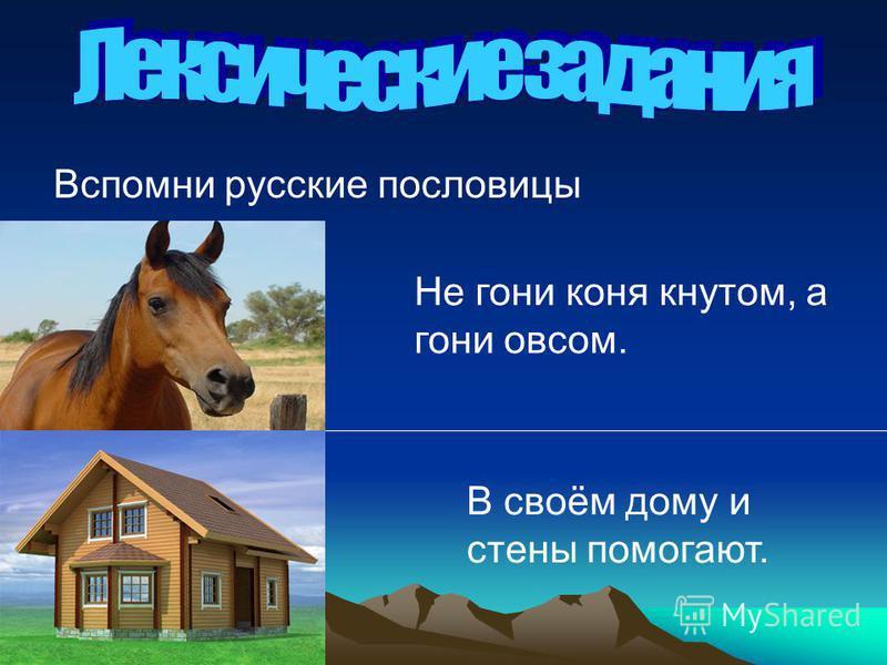 Вспомни русские пословицы Не гони коня кнутом, а гони овсом. В своём дому и стены помогают.