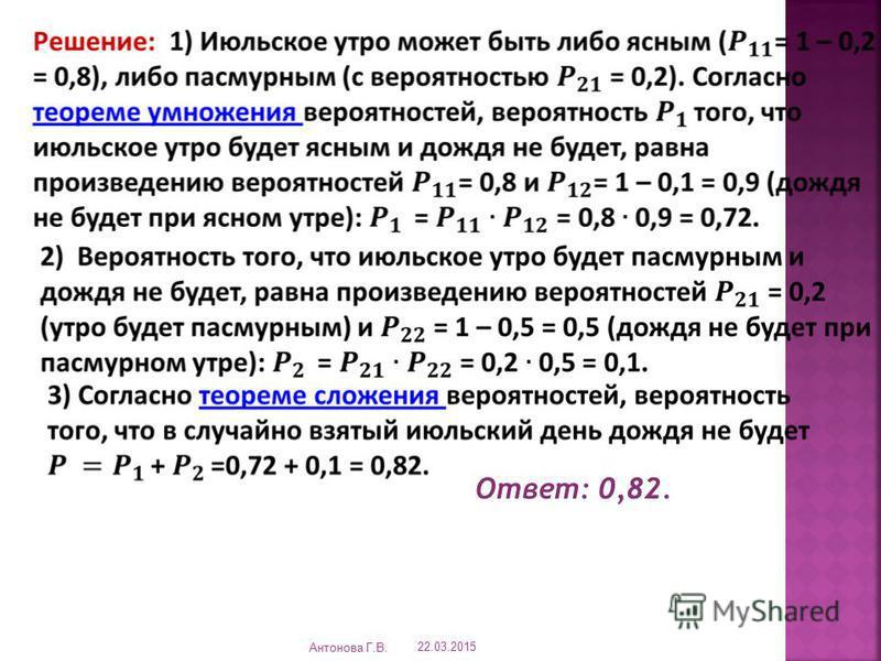 Ответ: 0,82. 22.03.2015 Антонова Г.В.