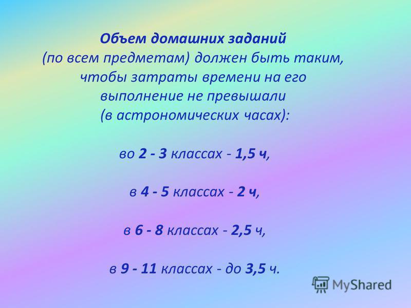 Объем домашних заданий (по всем предметам) должен быть таким, чтобы затраты времени на его выполнение не превышали (в астрономических часах): во 2 - 3 классах - 1,5 ч, в 4 - 5 классах - 2 ч, в 6 - 8 классах - 2,5 ч, в 9 - 11 классах - до 3,5 ч.