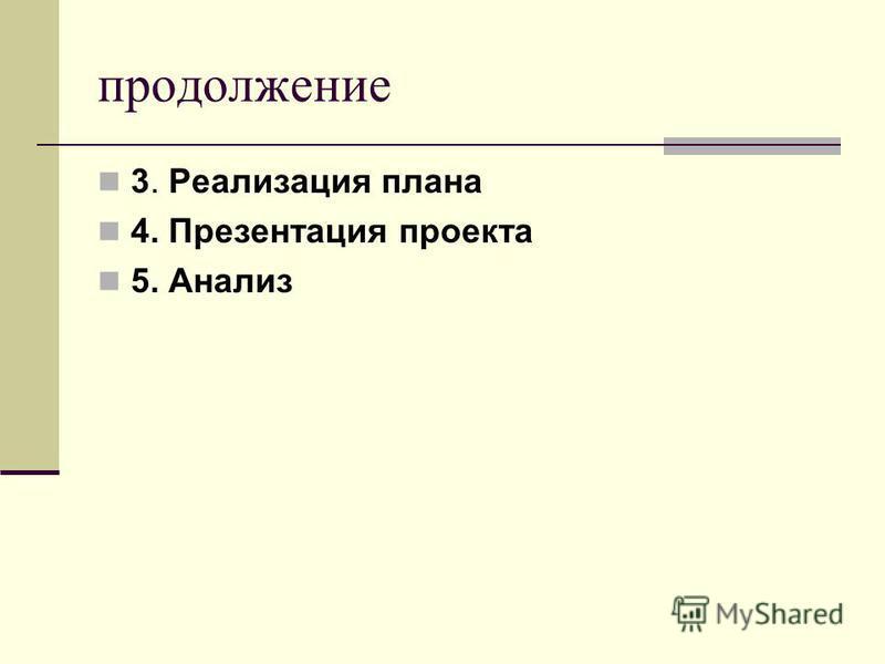 продолжение 3. Реализация плана 4. Презентация проекта 5. Анализ