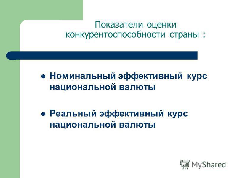 Показатели оценки конкурентоспособности страны : Номинальный эффективный курс национальной валюты Реальный эффективный курс национальной валюты