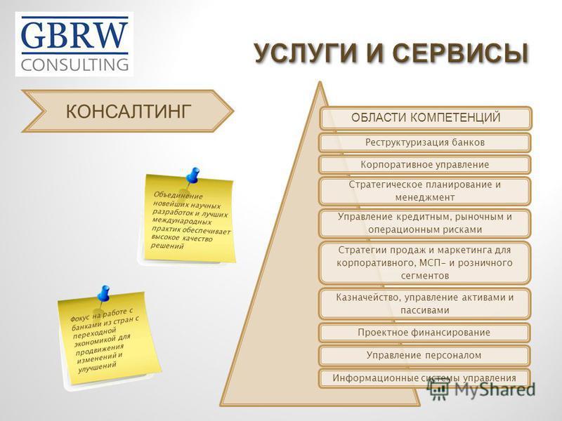 Реструктуризация банков Корпоративное управление Стратегическое планирование и менеджмент Управление кредитным, рыночным и операционным рисками Стратегии продаж и маркетинга для корпоративного, МСП- и розничного сегментов Казначейство, управление акт