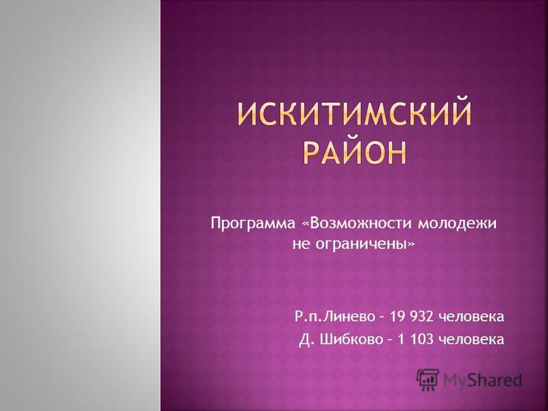 Программа «Возможности молодежи не ограничены» Р.п.Линево – 19 932 человека Д. Шибково – 1 103 человека