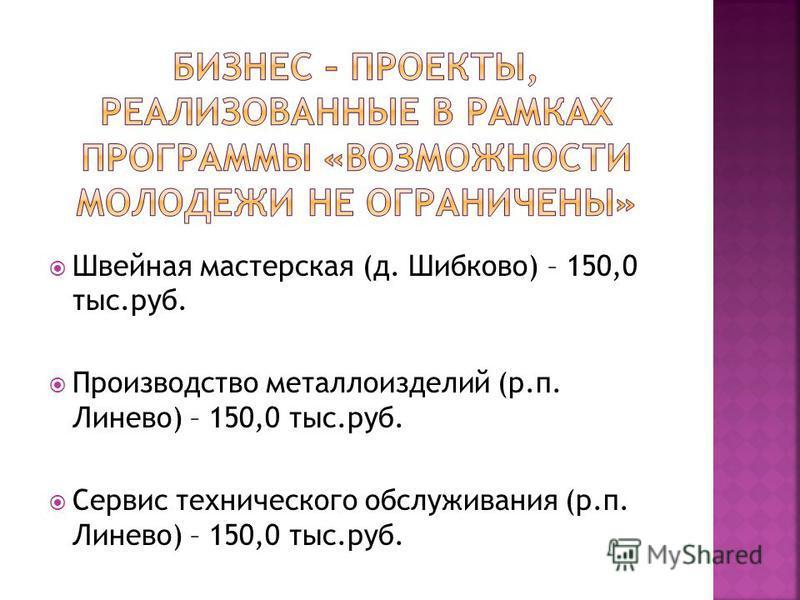Швейная мастерская (д. Шибково) – 150,0 тыс.руб. Производство металлоизделий (р.п. Линево) – 150,0 тыс.руб. Сервис технического обслуживания (р.п. Линево) – 150,0 тыс.руб.