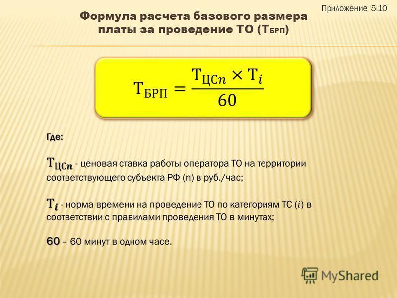 Формула расчета базового размера платы за проведение ТО (Т БРП ) Приложение 5.10