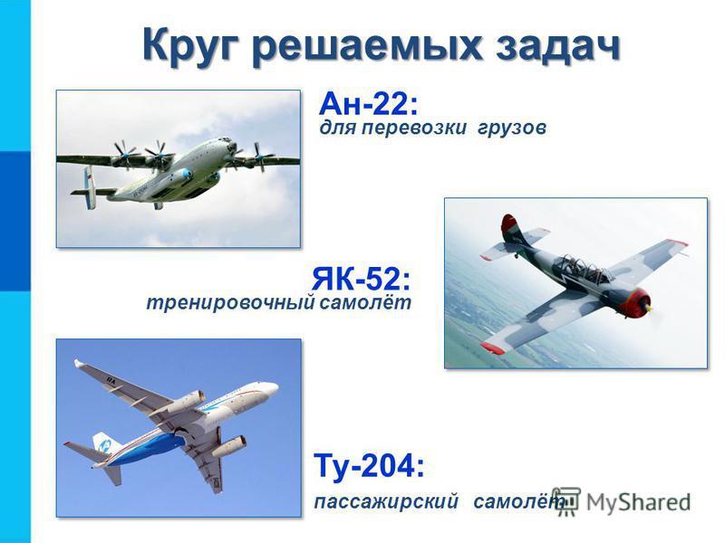 Круг решаемых задач Круг решаемых задач Ан-22: для перевозки грузов Ту-204: пассажирский самолёт ЯК-52: тренировочный самолёт