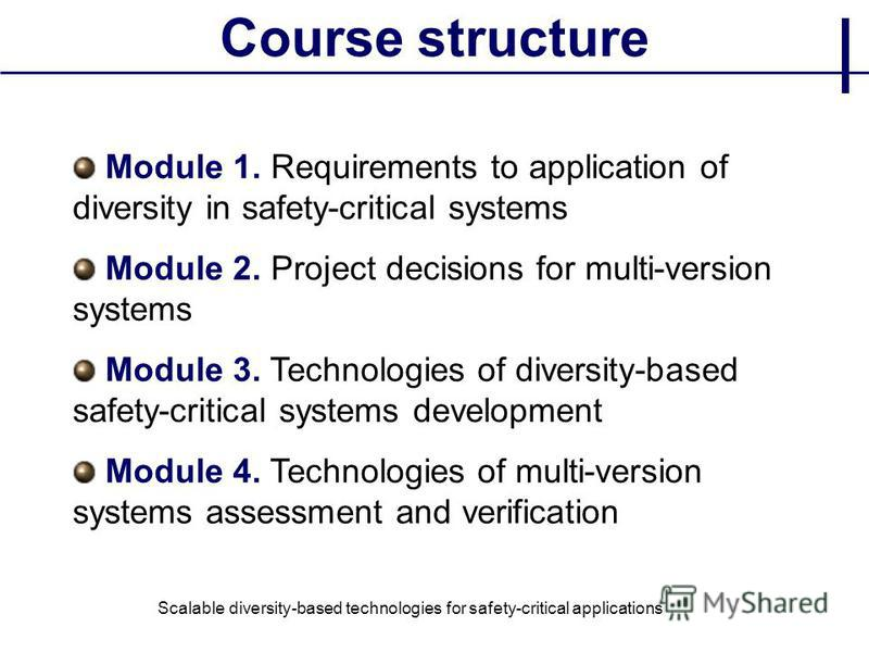 Course structure Module 1. Requirements to application of diversity in safety-critical systems Module 2. Project decisions for multi-version systems Module 3. Technologies of diversity-based safety-critical systems development Module 4. Technologies