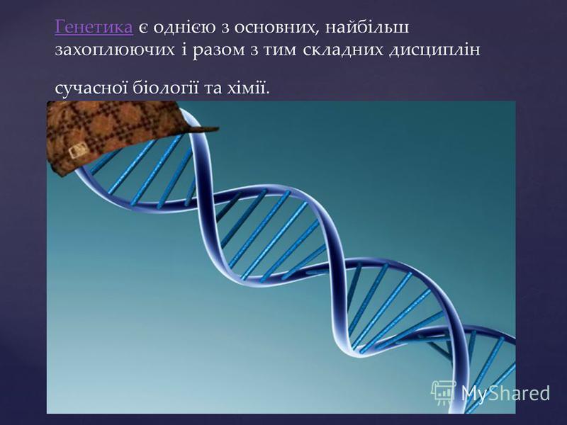 ГенетикаГенетика є однією з основних, найбільш захоплюючих і разом з тим складних дисциплін сучасної біології та хімії. Генетика