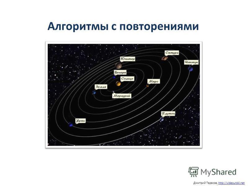 Дмитрий Тарасов, http://videouroki.nethttp://videouroki.net Алгоритмы с повторениями