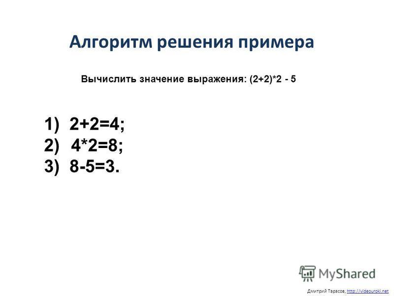 Дмитрий Тарасов, http://videouroki.nethttp://videouroki.net Алгоритм решения примера 1) 2+2=4; 2) 4*2=8; 3) 8-5=3. Вычислить значение выражения: (2+2)*2 - 5