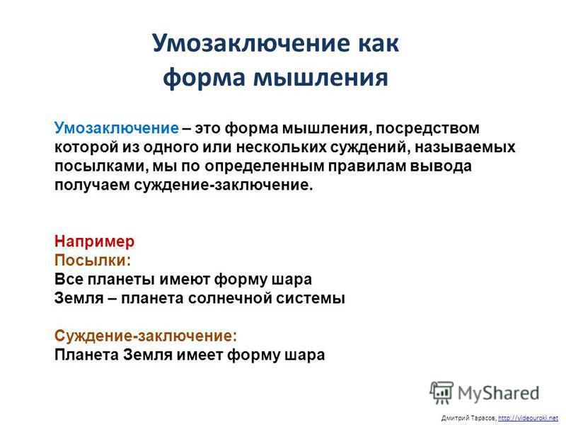 Дмитрий Тарасов, http://videouroki.nethttp://videouroki.net Умозаключение как форма мышления Умозаключение – это форма мышления, посредством которой из одного или нескольких суждений, называемых посылками, мы по определенным правилам вывода получаем