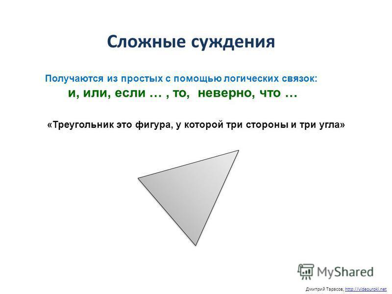 Дмитрий Тарасов, http://videouroki.nethttp://videouroki.net Получаются из простых с помощью логических связок: и, или, если …, то, неверно, что … Сложные суждения «Треугольник это фигура, у которой три стороны и три угла»