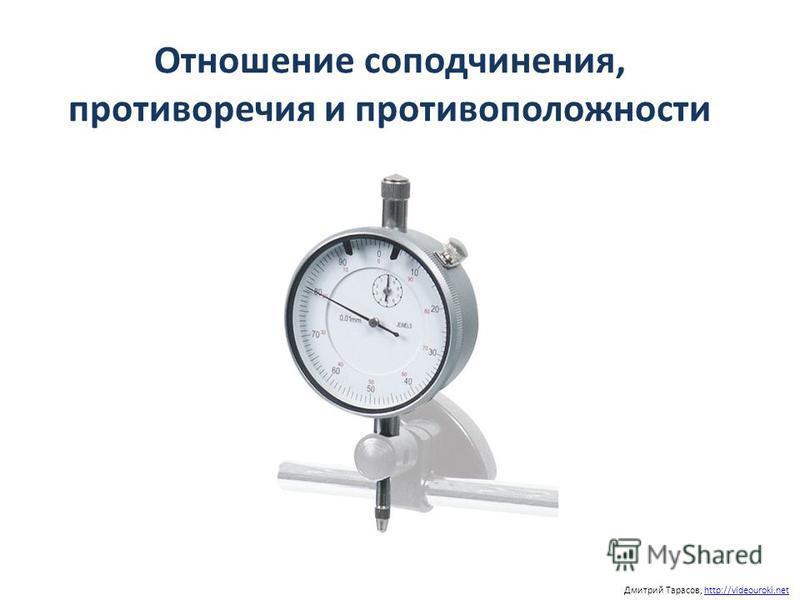 Отношение соподчинения, противоречия и противоположности Дмитрий Тарасов, http://videouroki.nethttp://videouroki.net
