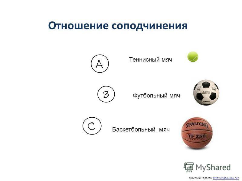 Отношение соподчинения Дмитрий Тарасов, http://videouroki.nethttp://videouroki.net Теннисный мяч Футбольный мяч Баскетбольный мяч