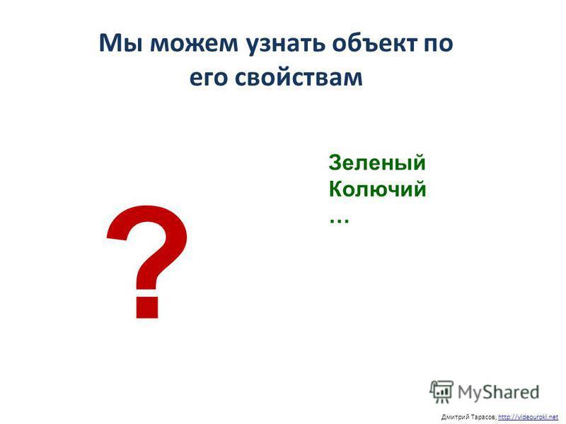 Мы можем узнать объект по его свойствам Дмитрий Тарасов, http://videouroki.nethttp://videouroki.net Зеленый Колючий … ?