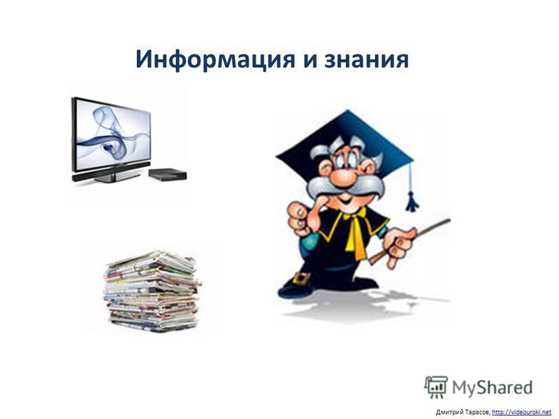 Информация и знания Дмитрий Тарасов, http://videouroki.nethttp://videouroki.net