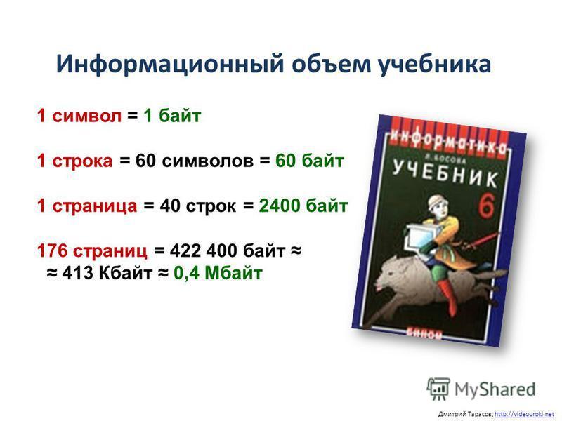 Информационный объем учебника Дмитрий Тарасов, http://videouroki.nethttp://videouroki.net 1 символ = 1 байт 1 строка = 60 символов = 60 байт 1 страница = 40 строк = 2400 байт 176 страниц = 422 400 байт 413 Кбайт 0,4 Мбайт