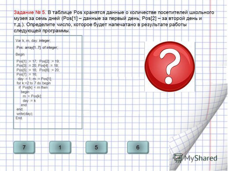 Задание 5. В таблице Pos хранятся данные о количестве посетителей школьного музея за семь дней (Pos[1] – данные за первый день, Pos[2] – за второй день и т.д.). Определите число, которое будет напечатано в результате работы следующей программы. Var k