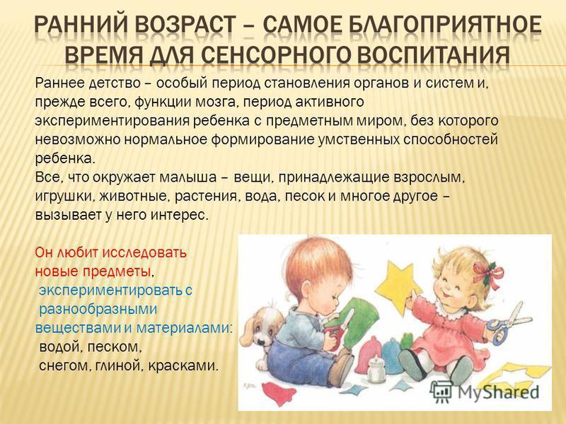 Раннее детство – особый период становления органов и систем и, прежде всего, функции мозга, период активного экспериментирования ребенка с предметным миром, без которого невозможно нормальное формирование умственных способностей ребенка. Все, что окр