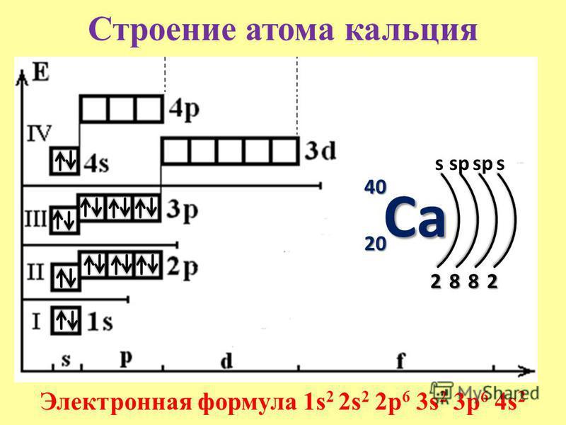Строение атома кальцияCa 40 20 s 2 Электронная формула 1s 2 2s 2 2p 6 3s 2 3p 6 4s 2 8 sp 8 s 2