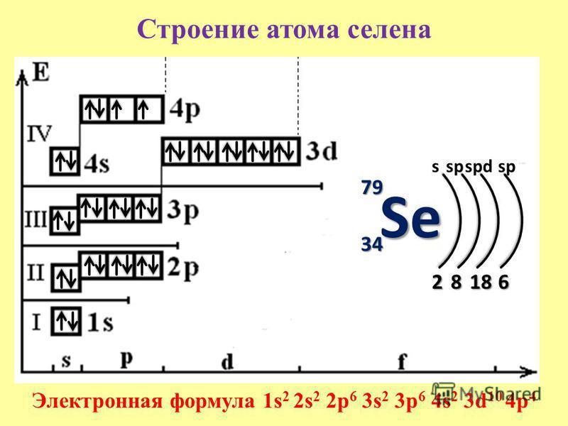 Строение атома селена 79 34 s 2 Электронная формула 1s 2 2s 2 2p 6 3s 2 3p 6 4s 2 3d 10 4p 4 8 sp 18 spdsp 6 Se