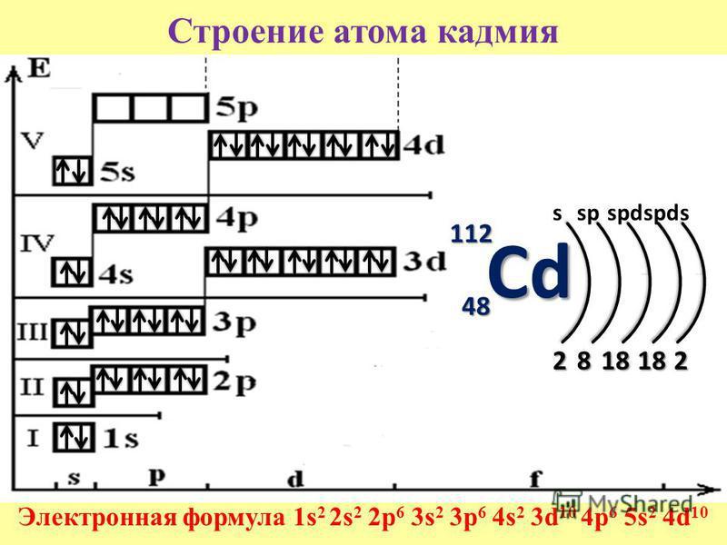 Строение атома кадмия Электронная формула 1s 2 2s 2 2p 6 3s 2 3p 6 4s 2 3d 10 4p 6 5s 2 4d 10 112 48484848 2818 181818182 sspspd s Cd